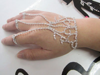 slave bracelets - rhinestone bracelet slave hand chain with finger ring and extention chain piece Free ship