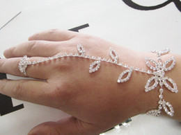 Hotsale Leaves Rhinestone bracelet, slave hand chain with finger ring and extender chain ,1piece Free ship