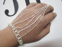 Wholesale jewelry slave hand chain with pearl bracelet with finger ring and extender chain silver plated piece Free ship