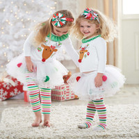 Wholesale Baby Girl Christmas Sets Suits T shirt Leggings Pants Reindeer Sweater Rainbow Striped Leggings Pants Xmas Outfits Children Clothing