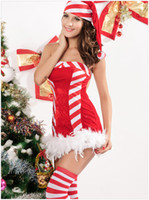 Wholesale Fashion Women Christmas Sexy Dresses Christmas Theme Costumes Red Stage Tube Dresses Sexy Lingerie Backless White Strips