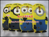 Wholesale Cartoon Galaxy S Cases - For Samsung Galaxy SIV S4 S 4 I9500 S5 SV I9600 3D minion Despicable Me Cartoon soft silicone gel rubber Case M 2 Lovely smile skin cover