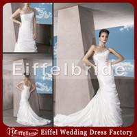 Cheap Beach Casual Wedding Dresses Country Style One Shoulder Rhinestone Trim Neckline Sheath Lace-up Back White Stretch Satin
