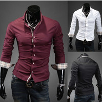 Men Silk Long Sleeve NEW Men's casual Slim long Sleeve Shirts Men's Grid edge decoration shirts Dress Shirts For Men Business Shirts C12