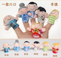 Stuffed Plush 2 -4Years Six Family Member Finger Toy Hand Puppet, telling story and action for baby and child Free Shipping T90205