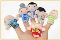 Stuffed Plush 2 -4Years Six Family Member Finger Toy Hand Puppet, telling story and action for baby and child Free Shipping