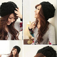 Wholesale Fashion Women Warm Winter Knit Crochet Beret Braided Baggy Beanie Hat Ski SP7