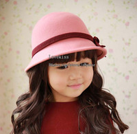 Wholesale Children Beanie Hat Caps Girls Hats Bucket Hat Felt Hat Kids Cute Bows Princess Hats Woollen Cap Fedora Hat Baby Top Hat Fashion Basin Cap