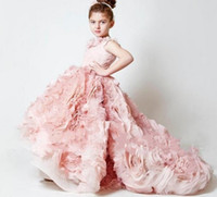 Wholesale Mygirlsdress Customize Beautiful Attractive New Chic lovely Cheap Ball Gown little girls pageant dresses high low kids party gown Peach