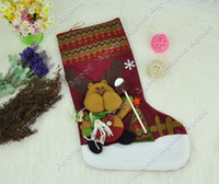 Wholesale 2013 New Arrival Lovely Cute Bear Santa Christmas Holiday Stocking Sock Gift Bags Ornament Decoration