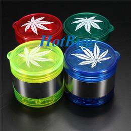 New Leaf Pattern Plastic Herbal Herb Tobacco Grinder Smoke Crusher Hand 5 layer #2699