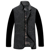 Wholesale Wool Coats Mens Winter Outwear Stand Collar Single Placket Coats Front Pocket Patchwork Fabrics SEPTWOLVES Mens Tops Hot Sale