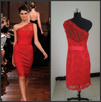 Wholesale New Sexy One Shoulder Sheath Red Lace Short Knee Length Cocktail Dresses EWL225 to get one bracelet free