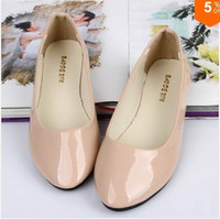 Wholesale solid color patent PU women s shoes candy colors flat shoes ballet princess shoes for casual