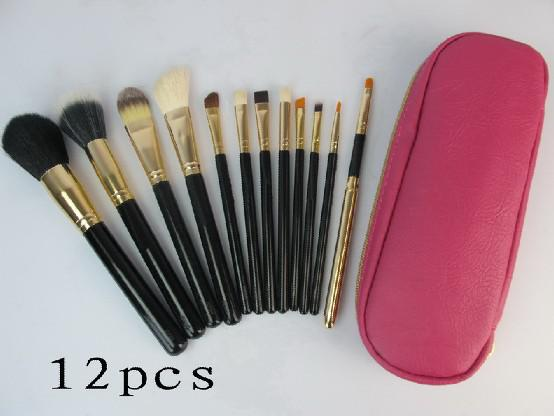 new pink 12 pc et profe ional makeup bru he with leather pouch