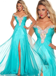 Wholesale Stunning Rich Beaded Cap Sleeve Long Chiffon Aqua Formal Evening Prom Pageant Dress Gowns P
