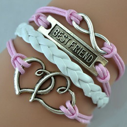 Wholesale double heart best friend Infinity antique Cross Love Peace Heart Music mix wish Leather Bracelet Charm Wristbands SET