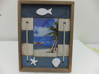 wood photo frame - Home Decor Inch quot x6 quot Mediterranean Sea Style Blue Photo Frame Wood