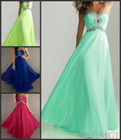 Reference Images Sweetheart Chiffon 2014 Hot Sale Crystal Prom Dresses Beading Criss Cross Bodice Empire Waistline A Line Sweetheart Neckline Floor Length Chiffon Evening Gowns