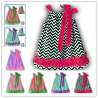 Wholesale Black chevron with hot pink ruffled dress baby Spring dress Pillow dresses dhl free