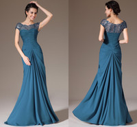 Reference Images Scalloped Chiffon 2014 New Blue Ruched Bodice Cap Sleeves Sequined Lace Top Prom Dresses