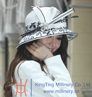 ladies church hats - Women Hats Satin Dress Hat Church Hat Satin Ribbons Big Brim Smooth Dome Design Ladies Polyester Made White Elegant