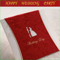 Invitations & Invitation Buckles Folded Red Golden Red Wedding Favor Invitations Card+Printable Customized Inner Sheet+Wedding Envelope+seal wedding invitation 112003