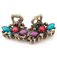 Wholesale Vintage Hairpin Bronze Resin Rhinestone Mini Hair Accessories Clamps
