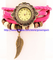 Wholesale Hot Recommend Promotion New Fashion Retro Hand Woven Leather Pendant Wings Woman Bracelet Vintage Watches colors