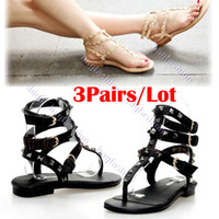 Wholesale 3Pairs New Fashion Women Flat Heel Sandals Cool British Style Rivet Shoes Sandal Thong Flats Sandals Shoes For Women Abic