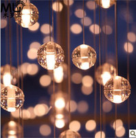Chandelier Transparent Hotel Princess Square crystal ball meteor shower light chandelier modern minimalist living room bedroom dining staircase lighting