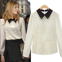 Wholesale Factory outlets new European and American fashion solid color autumn eastern diamond collar lace shirt