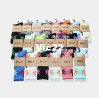 New Year Socks Unisex Wholesale 120pairs lot Fashion Women Boys Men's Huf leaf sock Stockings skateboard sports sock knee-high cotton Stockings RJ1882