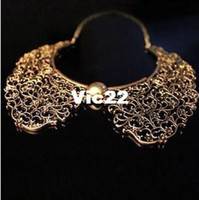 Chains Fashion Necklaces Wholesale New Fashion accessories costume Jewelry High quality carved Flower Hollow False Collar short chain Necklace RJ930