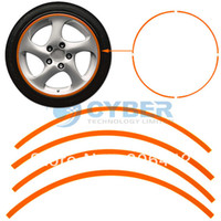 Wholesale 16 Strips Orange Reflective Car Motorcycle Rim Stripe Wheel Decal Tape Stickers