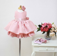 TuTu Summer Ball Gown Retail Pink Beautiful flower Dress for Little Girls Birthday Party Baby Kids Clothes Children's Fashion Clothing