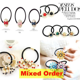 Wholesale Mixed Order Candy Colors Blue Red Yellow Flowers Bud Bouquet Sunflower Hair Rubber Bands Holders HJ317