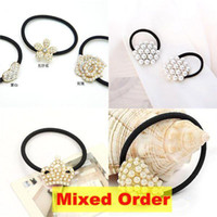 Wholesale Mixed Order Pearl Beads Heart Love Butterfely Crown Charms Hair Rubber Bands Holders HJ315