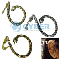 Wholesale Plated Stylish Cute Snake Design For Pierced Ears Earrings Colors Golden Silver Bronze Retail amp
