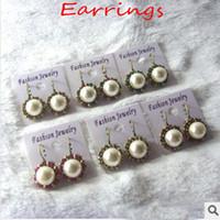 Wholesale Retro fashion exquisite bronze pearl diamond earrings earrings cheap women earrings