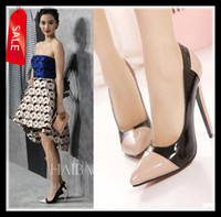 Wholesale 2014 Women s Chic Color Block Heel Pumps Sexy Patent PU Leather High Heel Dress Shoes Size to ePacket