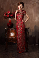 Wholesale Wedding dress cheongsam toast clothing performances high slit dress wine red color slimming ankle length stand collar qipao dress