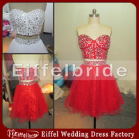 Reference Images Sweetheart Organza 2013 Sexy 2 Piece Red and White Short Prom Dress Suzhou Heavy Beaded Corset Night Wear Cocktail Dresses