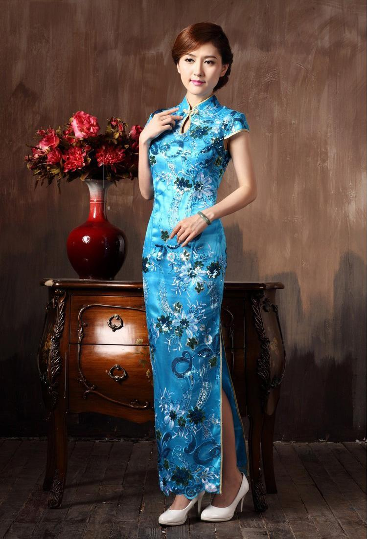 Chinese Restro Cheongsam Long Lace Flowers Embroidery High
