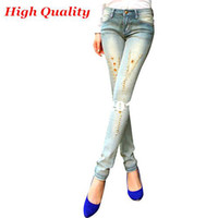 Wholesale High Quality Brand Fashion Sexy Skinny Diamond Vintage Thin Mid Waist Washed Cotton Women Pencil Jeans