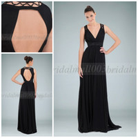 Wholesale Elegant Black Chiffon V Neck A line with Beaded Motifs and Open Back Ruffled Sweep Train Evening Dress HY682