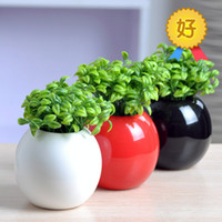 Wholesale Modern Fashion Home Decor Furnishings Pure Simple Ceramic Ball Vase Craft Artificial Green Bean Sprouts