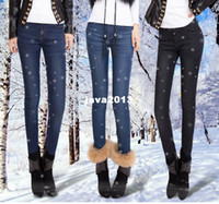 Wholesale new fashion Mink cashmere denim jeans thickened female slim pencil s warm winter jeans JD886LK