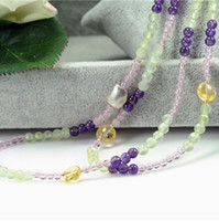 Crystal Necklace  Fine Jewelry Crystal Necklace Natural Amethyst Citrine Prehnite Necklace Double Chain Best Gift Women Necklaces Gemma RL12N0053