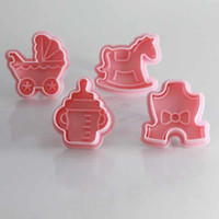 CE / EU baby toy mold - 4x Baby Toys Fondant Cake Mold Biscuit Cookie Plunger Cutters Sugarcraft Tools Hot Sale T90198